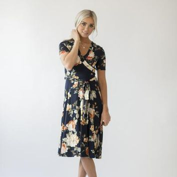 Nora Floral Wrap Dress - Navy