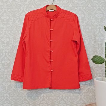 Vintage 1970s Red Rose + Quilted Blouse