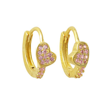 Gold Plated Sterling Silver, Pink CZ Heart Huggie Earrings