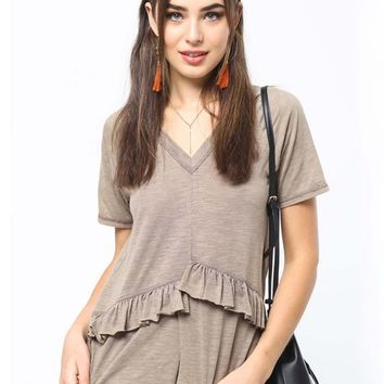 Must Have Ruffle Tee in Taupe