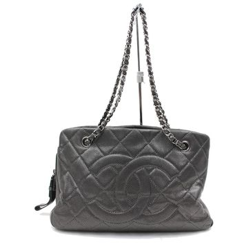 Authentic Chanel Shoulder Bag Metallic Matelasse Chain Tote Grays 69379