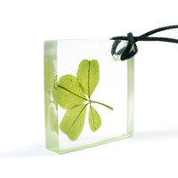 Square Real Four Leaf Clover Pendant, Four Leaf Clover Necklace, Pressed Flower Jewelry, Real Flower Neklace, Clear Resin Pendant