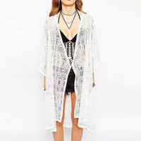 White Geo Lace Long Cardigan