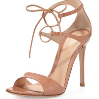 Gianvito Rossi Patent Double Ankle-Wrap Sandal, Powder