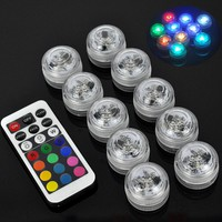10pcs LED Submersible Remote Control Candle Floral Tea Light Candle Flashing Waterproof Wedding Party Decoration Hookah Shisha