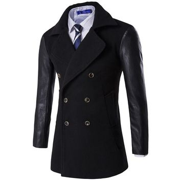 Size M-XXXL 2016 Mens Autumn Winter Wool & Blends High Quality Slim fit Male Clothing Casual Wear Leather sleeve Men Coat 16D117