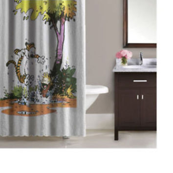 Comic Calvin And Hobbes Playing Design High Quality Waterproof Shower Curtain