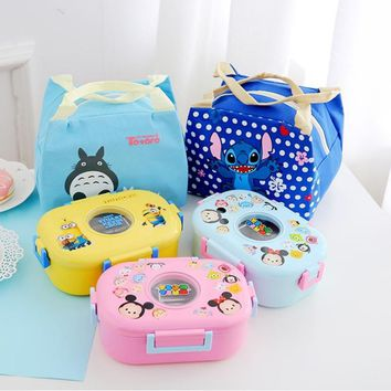 Hello Kitty Minions Mickey Cartoon Child Student Girl Food Container Stainless Steel  Plastic Leak-proof Bento Lunchbox With Bag