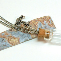 Map Mini Bottle Necklace- Antique Style Mini Map and Anchor Charm
