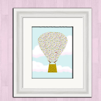 Printable digital art, daisy hot air balloon, baby girl nursery wall decor, instant download, girls room art print, hot air balloon poster