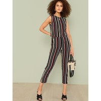 Vertical Striped Crop Top & Pants Set