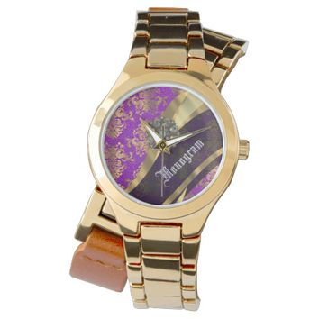 Purple vintage damask and monogram wristwatch