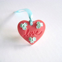 Wedding Favor Tag. Bridal Shower Tag. Coral and mint Love Tag. Heart Tag. Set of 10