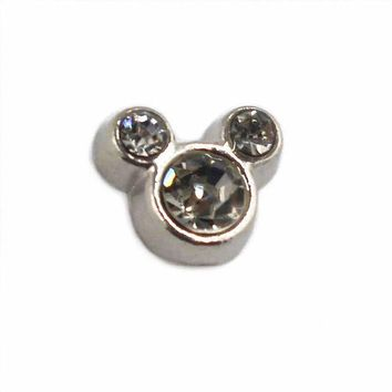 DCCKFV3 20pcs/lot white crystal alloy mickey mouse floating charms living glass memlry floating lockets pendant DIY jewelry marking