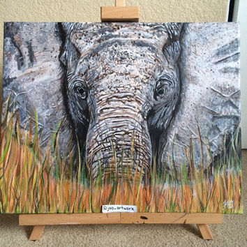Elephant Painting 16x20 Acrylic Painting Gazing In Grass Safari Animal Endangered Animals Wall Decor Art Gallery