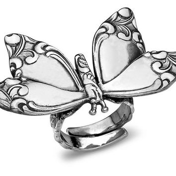 Silver Spoon Adjustable Ring - Butterfly