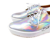 Limited Edition - Hologram Holographic Metallic Mirrors Platform Oxford Shoes