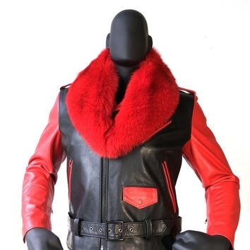 Motorcycle Biker Jacket With Fur Collar Style #3011 MENS