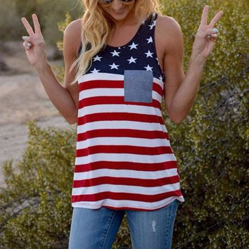Women Tank O-Neck American Flag Pocket Striped Printed Casual Sleeveless Tops Cropped Summer 2017 Girls Soft Casual Loose Tanks