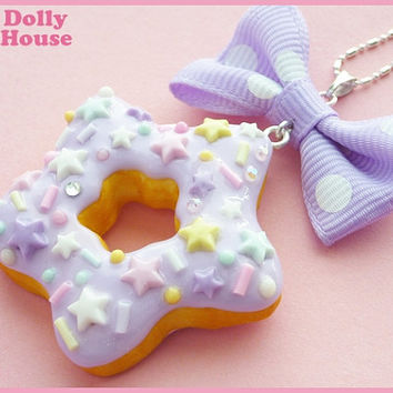 Kawaii Pastel Space Donut Necklace by Dolly House