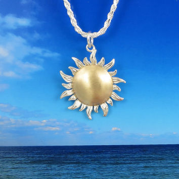 14k Gold and Sterling Silver Sun Necklace