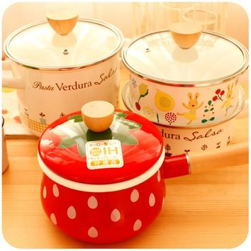 Creative Cute Pot Enamel Milk Pot High Temperature Resistant Small Soup Cook Pots General Use For Gas and Induction Cooker