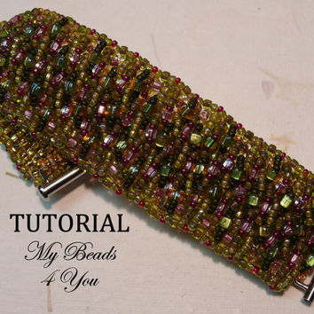 PDF Beading Tutorial, Beaded Bracelet Tutorial, PDF Bracelet Pattern, Beading Instructions, Seed Bead Tutorial, PDF Beadwoven Pattern