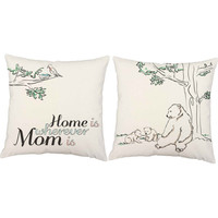 Home is Wherever Mom is Throw Pillows - Mother's Day Pillow Covers with or without Cushion Inserts, Nursery Decor, New Baby Gift, Bear Print