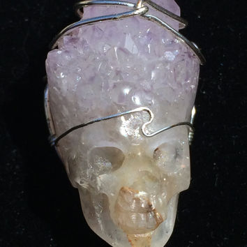 Amazing Amethyst Druze Carved Realistic Crystal Skull Pendant w/Silver wire wrap