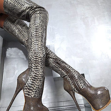 Choudory Python Print Leather Platform Bottine Fetish Shoes Woman 16CM High Heels Botas Over Knee Thigh High Stiletto Boots