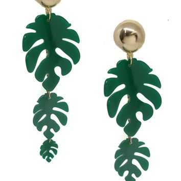 Palm Leaf Drop Earrings in Green and Gold
