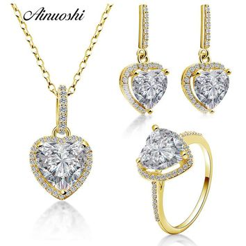 AINUOSHI 10K Solid Yellow Gold Heart Jewelry Set Highly SONA Dia 44a9916dc