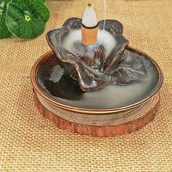 Antner Lotus Backflow Censer Ceramic Glaze Sandalwood Smoke Incense Burner Holder
