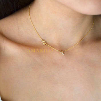 Sideways Double Initial Necklace by amarilo on Etsy