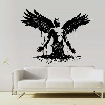 wall vinyl sticker decals decor art bedroom design mural wings angel born men z2994 - Wall Art Design Decals