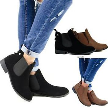 Women's Ankle Boots Flat Pull On Booties Elastic Side Panels Round Toe New