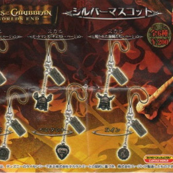 Yujin Disney Capsule World Pirates Of The Caribbean Gashapon At World's End Mascot Strap 6 Collection Figure Set