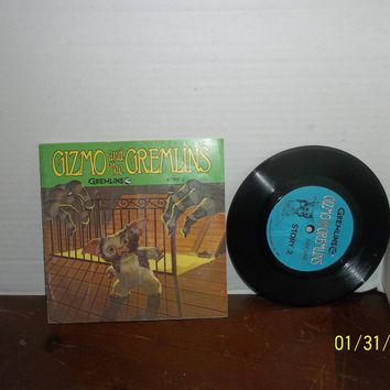 vintage 1984 gremlins story 2 gizmo and the gremlins book & record