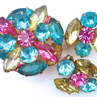 Pastel Rhinestone BEAU JEWELS Brooch Earrings Set, Demi Parure, Vintage