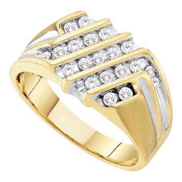 10kt Yellow Gold Mens Round Diamond Stripe Cluster Band Ring 1/2 Cttw
