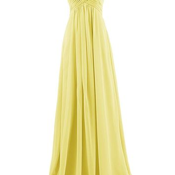 TDHQ Women's Sweetheart Bridesmaid Chiffon Prom Dresses Long Evening Gowns