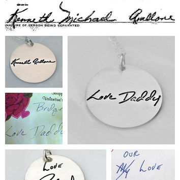 Custom Handwriting or Artwork Necklace Using Actual Handwriting or Signature