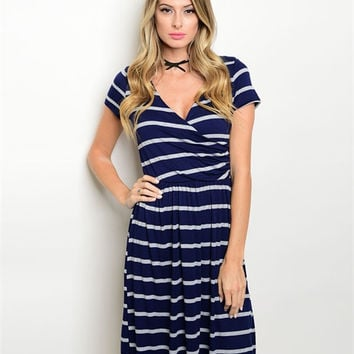 Navy blue and white striped nautical dress