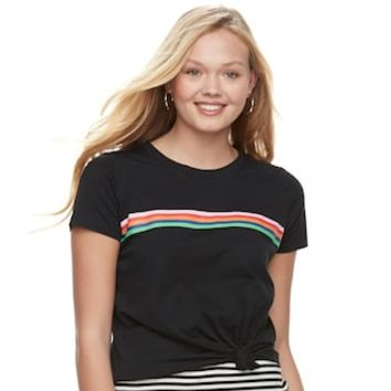 Juniors' Love, Fire Striped Tie-Front Tee | null