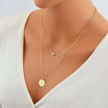 Layered Gold Necklace, Delicate gold Necklace, Monogram Necklace, Large Disc Necklace, CZ Diamond Necklace, Tiny CZ Necklace, Layering Gold