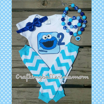 Cookie Monster Birthday Personalized Girl Shirt Onesuit - First Birthday - Second Birthday - Sesame Street - Headband - Tutu