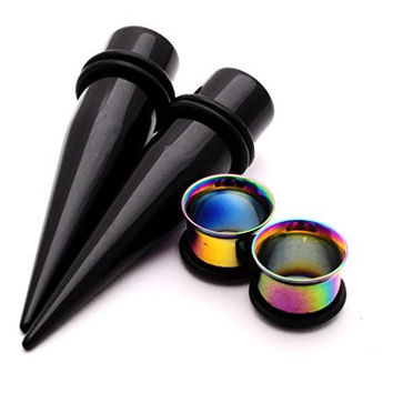 "Rainbow Steel Single Flare Tunnels with Black Acrylic Tapers Stretching Kit (3/4"" - 19mm)"