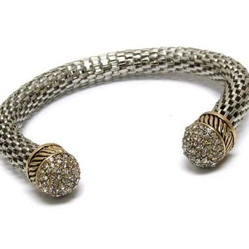Crystal Ball Tip with Silver Rhinestones and Adjustable Mesh Silver Cuff Bracelet. Gold Pattern on Ends. Adjustable One Size.
