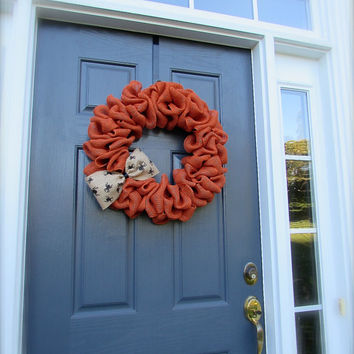 Orange Halloween Wreath - Spider Wreath - Burlap Halloween Wreath - Halloween Door