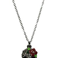 Silver Crystal Skeleton with Flower Necklace - Buy Online at Grindstore.com